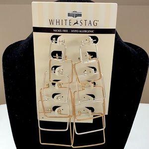 🆕Silver & Gold Square Hoop Earrings Set